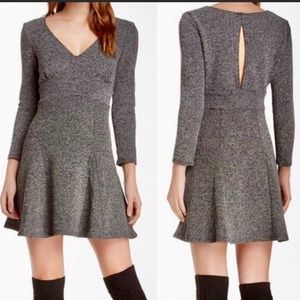 Free People Dress Tweed Long Sleeve Keyhole Dress